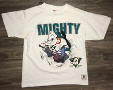 Vintage 1990's Anaheim Mighty Ducks Two-Sided Graphic White T-Shirt Fits Sm/Med