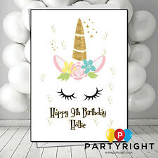 Personalised Handmade Unicorn Child Adults Kids Any Age  Birthday Card