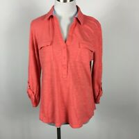 Jones New York L Large Popover Shirt Collared Salmon Coral Stretch Roll Tab Slv