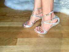 Jimmy Choo Champagne Glitter Leather Strappy Sandals Ivette Size 3UK 8.5 cm heel