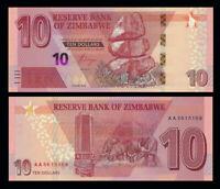 Zimbabwe 10 Dollars 2020 PREFIX AB NEW UNC
