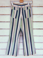 Vintage Rare 1970s Blue green and white stripe bell bottoms