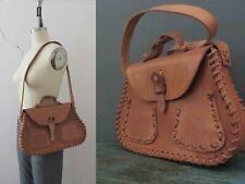 Vintage 70s Deadstock Tan Boho Leather Satchel Bag Buy 3+ items for FREE Post