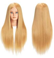 Best Blonde Head Manikin Training Doll Mannequin Head 100% Real Hair Hairdresser