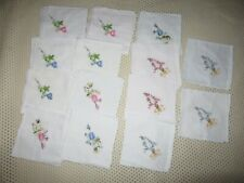 """New in Package Nip 14 Embroidered Floral Handkerchiefs Petit Point 10"""" x 10 1/2"""""""