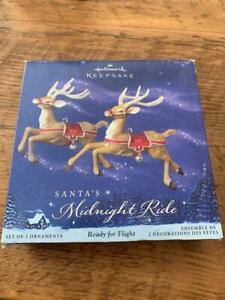 Hallmark Keepsake Ornament 2005 Santa's Midnight Ride Ready for Flight Set of 2