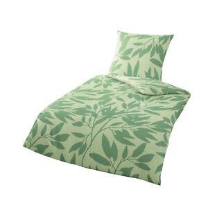 Bierbaum Baumwolle Bettwäsche 135x200 Linon Renforce Blätter grün RV 4tlg 1B