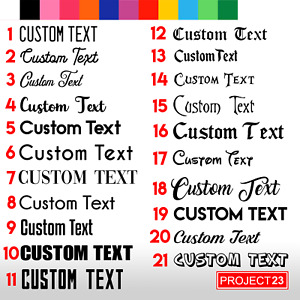 2 x CUSTOM TEXT Personalised Name Lettering Funny Car//Window/Shop Decal Sticker