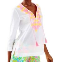 NWT Lilly Pulitzer Amelia Island tunic embroidered In Resort White Top Medium