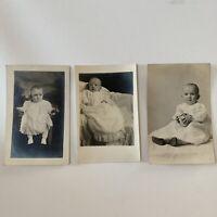 Antique Real Photograph Postcard RPPC Children Lot Baby Infant Cute Babies