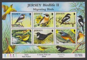Jersey - 2008, jersey Birdlife II, Migrating Birds sheet - MNH - SG MS1406