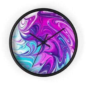 Wall Clock Blue & Purple Swirl Art Design