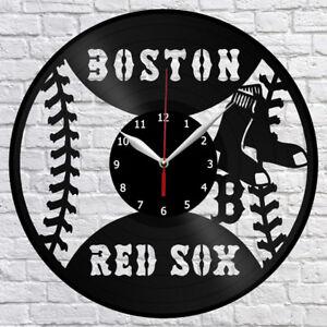 "Boston Red Sox Baseball Vinyl Record Wall Clock Fan Art Home Decor 12"" 30cm 1050"