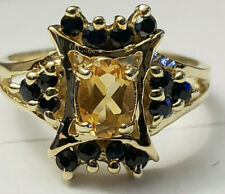 10k Yellow Gold Golden Citrine Oval Blue Sapphire Unique Design Size 5.75 Ring