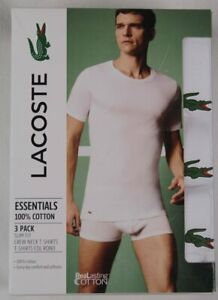 Lacoste Essentials 3 Pack White Slim Fit Crew Neck T-shirts Tee Cotton NWT
