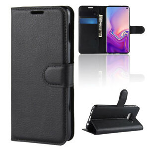 BLACK PU LEATHER WALLET CASE COVER KICKSTAND CASE FOR NEW SAMSUNG GALAXY S10