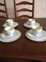 Rare Art Deco Foley Summertime 4106 Tea Cup, Saucer, Side Plate Trio x 4