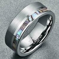 Ring Carbide & Abalone Jewelry Titanium steel Wedding Shell Inlay Band Men's 8MM