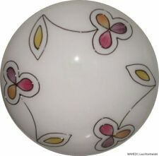 Deckenleuchte Deckenlampe Rund Milchglas Lampe Blumen bunt bemalt Retro E27 41F