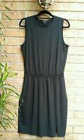 J.Jill Wearever Black Knit Blouson Dress Sleeveless Smocked Waist Size Medium