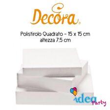 POLISTIROLO QUADRATO 15 x 15 x H 7,5 cm Decora Cake Designe attrezzatura torta