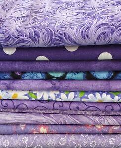 11 Fat Quarters Lot 100% Cotton FQ Bundle Fabric Material PURPLE Stash
