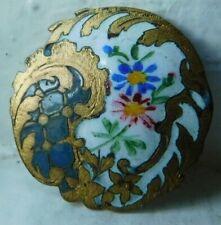 27mm Beautiful Antique collectible Enamel button~floral bouquet~unusual shape