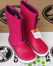 CROCS CROCBAND WINTER HIGH PUFF CLAIRE ZIPPER SNOW BOOT SHOE~Pink Purple~W 7~NWT
