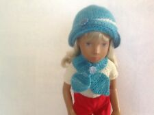 Brand new turquoise hat and butterfly scarf hand knitted for Sasha dolls