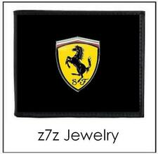 FERRARI Logo Emblem Wallet - bifold black leather w/ shield auto medallion z7qq