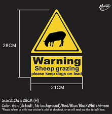 Sheep grazing warning sign stickers reflective countryside farm animal decals