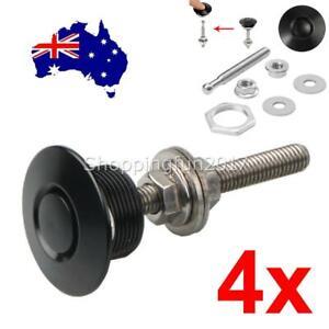 4X Black Aluminum Push Button Quick Release Bumper Hood Pin Bonnet Lock Latch OZ
