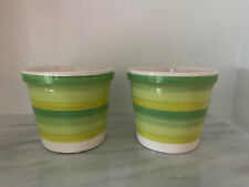 New ListingLot Two 5� Talavera Striped Green Flower Pots Planters African Violet Pots Herb