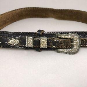 Hollands Vintage Sterling Silver 14K Gold Buckle Ranger Set #103 Western Cowboy