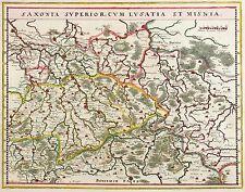 SACHSEN - OBERSACHSEN & LASUSITZ - Blaeu - kolor. Kupferkarte 1644/1645