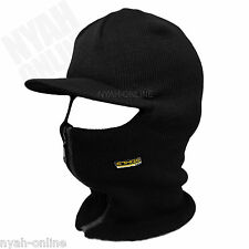 NEW BLACK SKI MASK FULL FACE BALACLAVA PLAIN WINTER CAP FITTED FLAT PEAK HAT