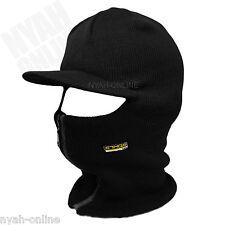 NEW BLACK SKI MASK FULL FACE BALACLAVA PLAIN WINTER CAP FITTED FLAT PEAK HAT