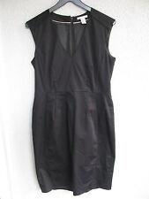 H&M Damen Kleid schwarz Gr.40 V-Ausschnitt Reißverschluss Stretch 95 cm lang