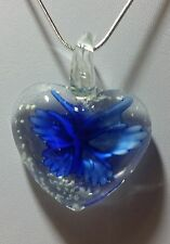 Murano Glass DarkBlue FlowerHeart Pendant on Sterling Silver Necklace #Valentine