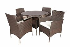 5 Piece Outdoor Patio Table and Chairs Dining Set (Brown and Beige)