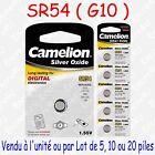 Pile Bouton SR Oxyde d'argent 1,55V : SR54 G10 189 389 SR1130 LR1130 x 1 5 10 20