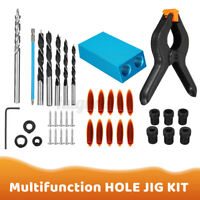 DIY Woodworking Carving Tools Pocket Hole Screw Jig Adapter Drill Se