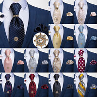 Mens Silk Necktie Tie Tack Clutch with Chain Metal Tie Pin Hanky Cufflinks Set
