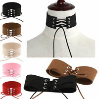 Punk Choker Sexy Women Lace Up Gothic Vintage Velvet Leather Necklace Jewelry E7