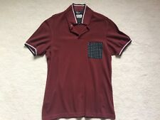 FRED Perry Polo Burgundy BORDEAUX DRAKE'S Stampa Tasca Anteriore Mens Medium utilizzato