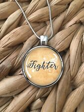 FIGHTER Women's Survivor Breast Cancer Glass Pendant Silver Chain Necklace NEW