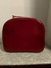ESTEE LAUDER RED faux Patent LEATHER travel/train bag CASE/ SMALL COSMETIC PURSE