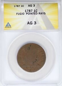 1787 ANACS 1C Fugio Large Cent AG3 Pointed Rays Colonial Copper