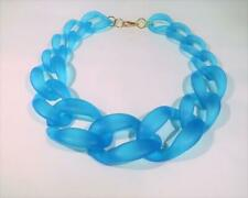 T233...VERY LARGE AQUA BLUE CHAIN LINK STATEMENT NECKLACE