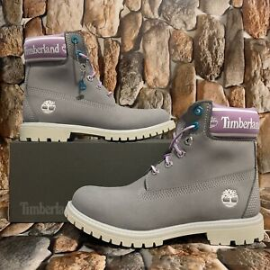 WOMEN'S TIMBERLAND PREMIUM 6 IN WATERPROOF BOOT MD GREY W PUR A41D6 SIZE:7M